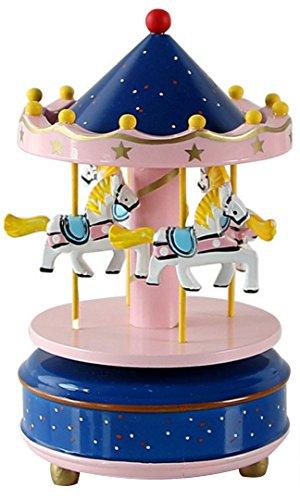 HorBous Merry-GO-Round Carrusel Decoración de Madera del Regalo de la Caja de la música del Mecanismo de relojería con la música del Castillo en el Cielo 6 Colores (Azul Oscuro)