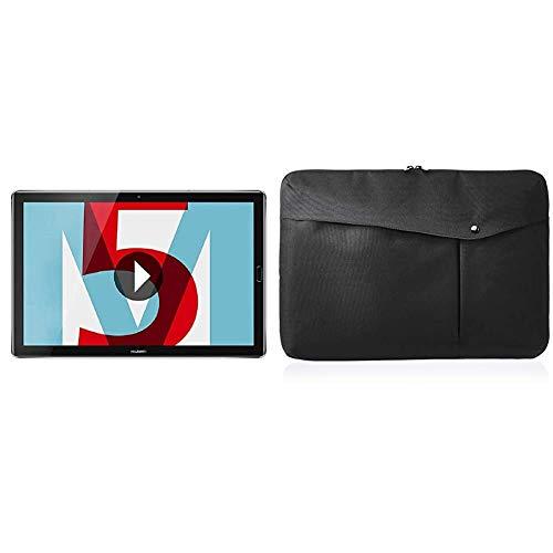 Huawei MediaPad M5 LTE - Tablet de 10.8' (WWAN, WiFi, LTE y Bluetooth, 32 GB ROM, 4 GB LPDDR4 RAM, Android 8.0, EMUI 8.0), Plateado + Amazon Basics - Funda para portátil, 43,18 cm, Negro