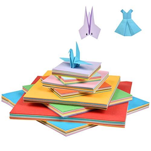 POKIENE 800 Hojas de Papel de Origami, Papel Plegable, Papel Cuadrado de 10 Colores 4 Tamaños Diferentes (7 x 10 x 15 x 20 CM) para Capacitación y Proyectos de Manualidades para Principiantes