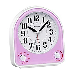 Peakeep Non-Ticking Silent Alarm Clock, Optional 7 Wake-up Sounds with Volume Control, Nightlight and Snooze, AA Battery Operated and Included (Light Purple)