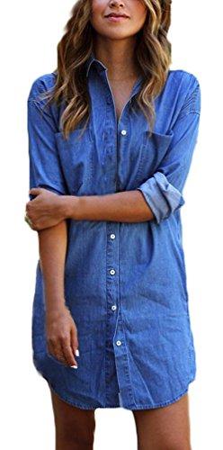 Lannister Fashion Vestiti Donna Eleganti Estivi Corti Ragazza Camicia Vestito Taglie Forti Blu Abito di Jeans Manica Lunga Casuale Ufficio Abiti Mini Puro Colore Dress Vestitini da Giorno