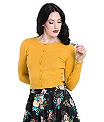 Classic 50s style round neck stretch cardigan. Glass look button fastenings to front. Ribbed hemline and cuffs. Perfect for wearing over 50's style clothing. Exact colour: Yellow = Mustard. Green = The shade of green is slightly lighter (best describ...
