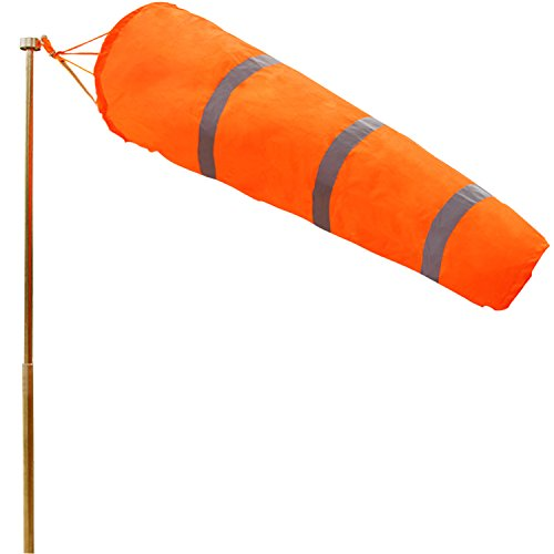 Anley 30 Inch Windsock - Rip-Stop Polyester Wind Direction Measurement Sock Bag with Reflective Belt - for Outdoors Airport Farm & Park - Orange 2.5 Feet