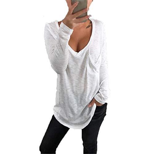 Lose Tasche Mit V-Ausschnitt, LäSsiges, LangäRmeliges, Unteres T-Shirt