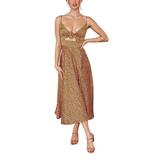 Vestido feminino de bolinhas, sem mangas, nó frontal, rodado, vestido vazado, longo, boho, clube, festa, praia, Pontos amarelos, XXG