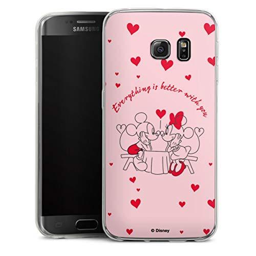 DeinDesign Custodia sottilissima Compatibile con Samsung Galaxy S6 Edge Custodia per Cellulare di Silicone Trasparente Cover Semplice Disney Topolino e Minnie San Valentino