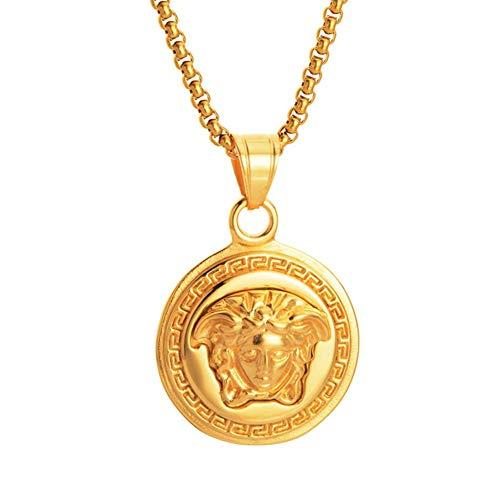 YuanChuang Mode/Medusa/Anhänger/Golden/Edelstahl/Anhänger Halskette/Herren-und Damen Griechisches Porträt Halskette (1 Pc)(A)