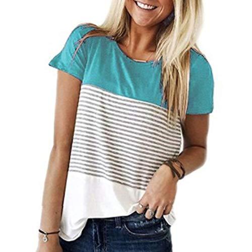 LQIQI Damen T-Shirt Tops Tops Streifen Dreifarbige Farbanpassung Rundhals Rundhals Klassik Lose Stretch Casual T-Shirt Blusen Shirt,Sky Blue,L