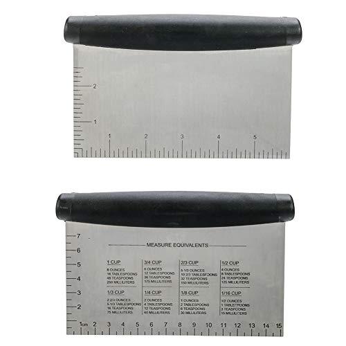 You&Lemon Teigschneider Teigschaber Teigspachtel Teig Spachtel mit schwarzem Griff zur Teigbearbeitung Schaber für Teigabstecher aus Edelstahl