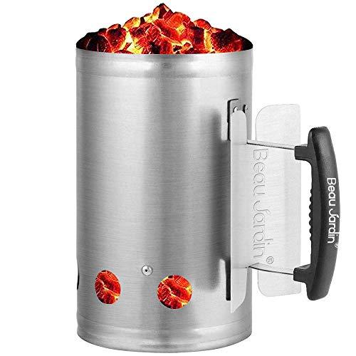 BEAU JARDIN 28x18cm Anzündkamin Rapidfire Grillen Kohle Grillkohleanzünder für BBQ Grillstarter Kompakt Kohlestarter Grillkohleanzünder Grillanzünder Brennsäule für Holzkohlegrill mit Sicherheitsgriff
