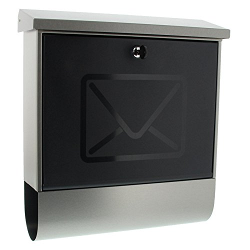 BURG-WÄCHTER Briefkasten mit integriertem Zeitungsfach und transluzenter Tür, A4 Einwurf-Format, EU Norm EN 13724, Inkl. 2 Schlüsseln, Rostfreier Edelstahl, Lucenta 2700 Ni