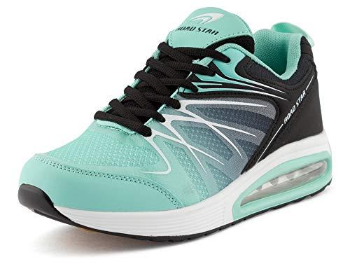 Fusskleidung Damen Herren Sportschuhe Sneaker Dämpfung Laufschuhe Neon Jogging Gym Unisex Türkis Schwarz EU 37