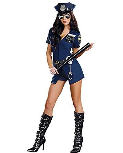 YTRDKJSW Disfraz De Polica Sexy para Mujer, Uniforme De Cosplay, Traje De Polica Travieso, Disfraz para Mujer, Disfraz para Fiesta De Halloween,Meduim Blue