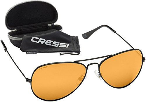 Cressi Nevada Sonnenbrille, Schwarz/Orange Lenses, One Size
