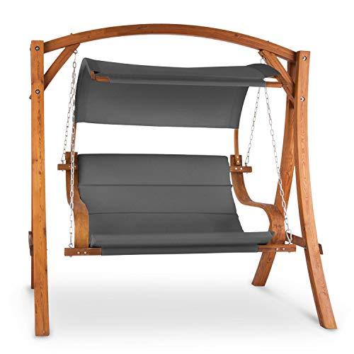 blumfeldt Maui Hollywoodschaukel Gartenschaukel - Sitzfläche: 110 cm , 2-Sitzer , inkl. Sonnensegel , Material: Massivholz & Polyester , Edelstahl-Ketten , verzinkte, rostfreie Schrauben, Taupe