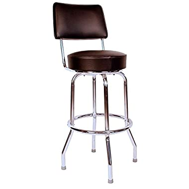 Richardson Seating Swivel Bar Stool with Back Chrome Frame and Seat, Black, 30