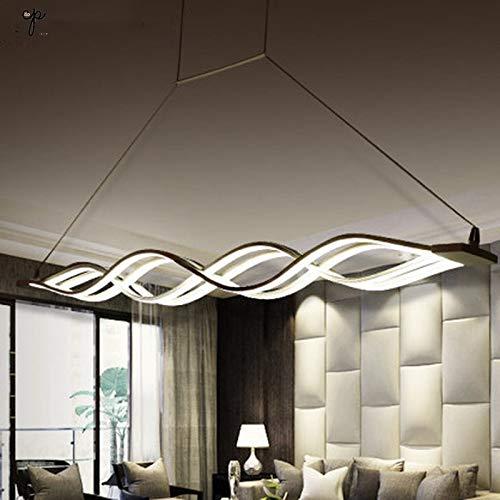 Lampada Candelabro de diseño de onda negro blanco comedor candelabro luces AC 85-260V 100CM 120CM lampada moderna lampada Illuminazione, Colore de pantalla: bianco freddo, Potencia: Nero L120CMX4PCS