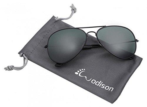 RoyBella WODISON Weinlese-Flieger-Sonnenbrille-reflektierende Spiegel-Objektiv Nachtsichtbrille mit Metall Rahmen Autofahren Polarisiert für Pilotenbrille Schutz Entspiegelten