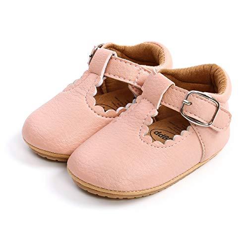 Auxm Zapatos de princesa para bebé, suela suave, antideslizantes, de piel, informales, adecuados para 0 – 18 meses, color, talla 20 EU