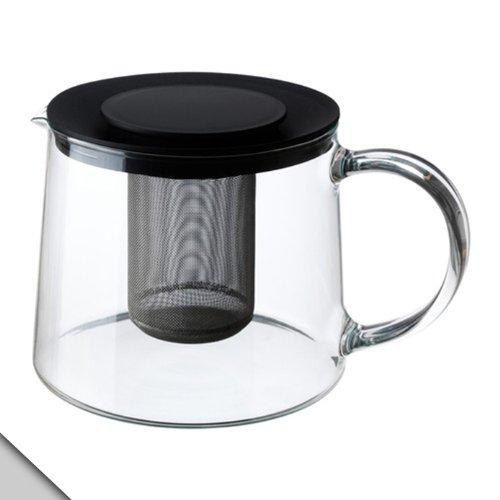 IKEA RIKLIG Teekanne, 1,6 l, Klarglas und schwarzer Deckel