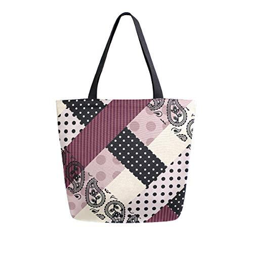 Naanle Paisley Plaid Canvas Tote Bag Large Women Casual Schultertasche Handtasche Ethnic Plaid Wiederverwendbar Mehrzweck Strapazierfähige Einkaufstasche aus Baumwolle für den Außenbereich