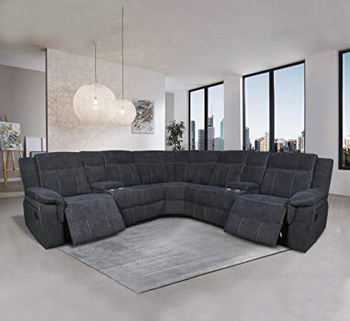 Manual Reclining Sectional Sofa Fabric Upholstery Sofa Set with Foam Filled Seat and Back, Solid Wood Frame with Cup Holders