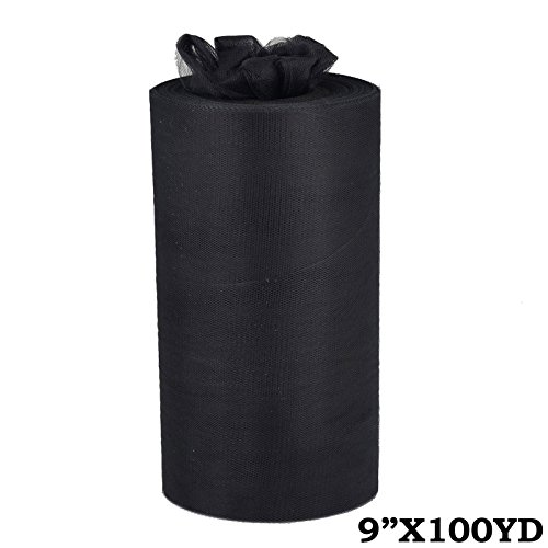 BalsaCircle 9-Inch x 300 feet Black Net Tulle Fabric by The Roll - Wedding Party Favors Decorations DIY Crafts Sewing Supplies