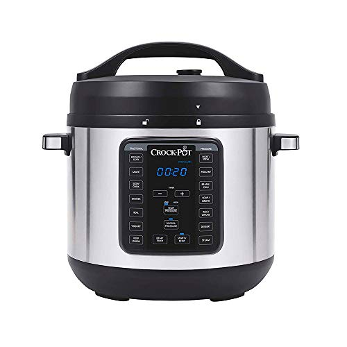 Crock-pot 8-Quart Multi-Use XL Express Crock Programmable Slow Cooker with Manual Pressure, Boil & Simmer with Extra Sealing Gasket, Stainless Steel