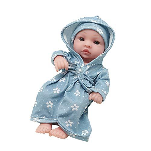 GuDoQi Mini Bebe Reborn Silicona Cuerpo Completo, 22cm Bebé Nino, Vinilo de Cuerpo Completo de Silicona Suave con Pijama Azul, Regalo para Niños