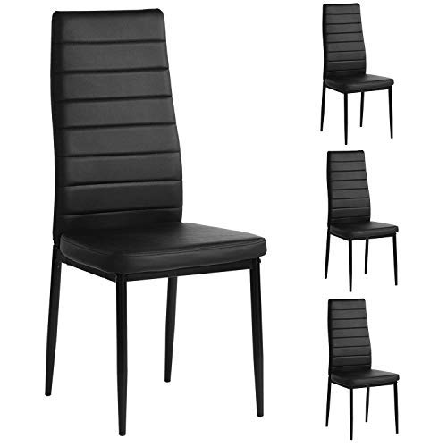 mecor PU Leather Dining Chairs Set of 4, Modern Highh Back Kitchen Side Chairs w/Ergonomic Curved Back and Steel Frame, Black