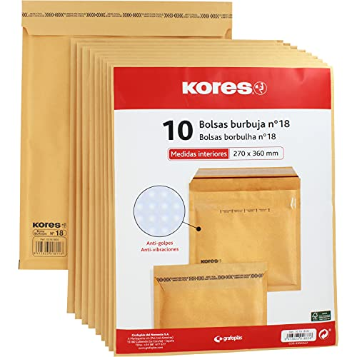Kores 10181800. Paquete de 10 Bolsas Acolchadas con Burbujas, Kraft, Nº18, 270x360mm, Cierre Autoadhesivo