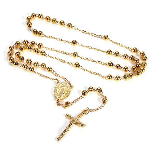 FaithHeart - Collar Rosario con Medalla de San Benito/María/Cristóbal/Miguel Arcángel y Crucifijo Jesús Encanto para Hombre y Mujer Acero Inoxidable Joyería con Cuentas Coloradas (6 Colores)