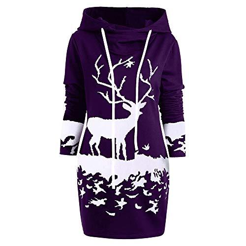 VEMOW Weihnachten Mini Pullover Kleid Damen Frauen Casual Daily Party Freizeit Kordelzug Monochrom Rentier Gedruckt Kapuzenkleid(X1-Violett, 40 DE/L CN)