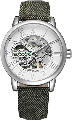 JZDH Mano Reloj Hombres Ver Relojes de Pulsera Hueca mecánica Impermeable Correa de Tela Reloj de Hombre Esfera Blanca Relojes Decorativos Casuales