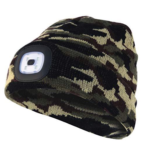Velamp CAP06 Lighthouse Bonnet à LED rechargeable par USB, lumineux 100 lumen, taille unique, lavable, pour le sport et le travail, Vert Camouflage