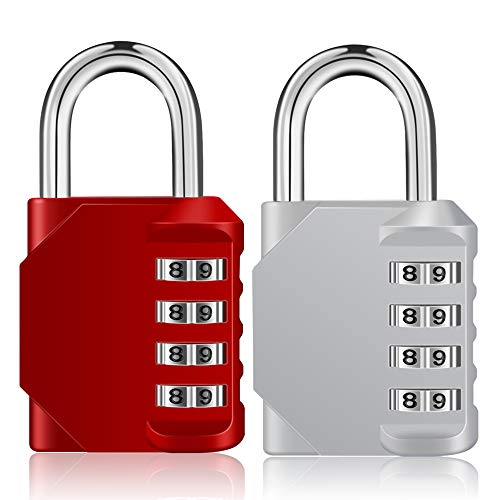 ZHEGE Combination Padlock 2 Pack, 4 Digit Lock for School Gym Locker, Outdoor Waterproof Combo Lock (Silver & Red)