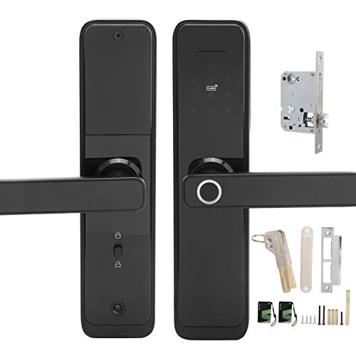 Cerradura inteligente de huellas dactilares, cerradura de puerta de entrada con llave con WIFI, manija electrónica con pantalla táctil, cerradura de cerrojo con control de aplicación Tuya, tarjeta IC,