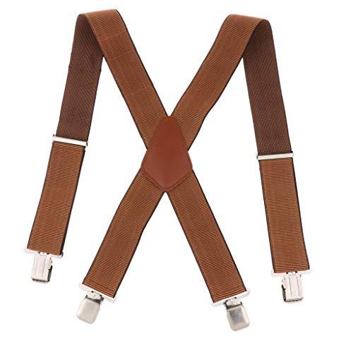 Colcolo Suspensórios Masculinos X Costas Largas Elásticas Ajustáveis para Calças Suspensórios Suspensórios Marrons