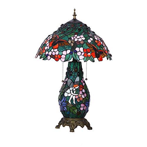 LHFJ Lámpara de Mesa de Estilo Tiffany 3 Luces Lámpara de Lectura de Sombra de vidrieras Verdes pastorales Lámpara de Escritorio de Base de aleación Antigua para Sala de Estudio