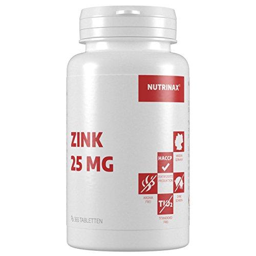 Zink Tabletten 25 mg - 365 Tabletten für 12 Monate - optimale Bioverfügbarkeit - Made in Germany - 1 Tablette täglich - vegan - Nahrungsergänzungsmittel aus hochwertigem Zinkgluconat