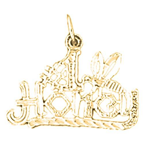 Jewels Obsession Anhänger 14 Karat (585) Gelbgold #1 Honig Spruch 17 mm