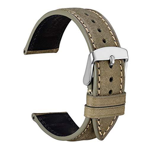 WOCCI 22mm Cinturino in Pelle Nabuk con Fibbia Argentata, Cinturini di Ricambio (Verde Oliva)