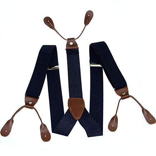 Trimming Shop 25mm Unisex Hombre Negra con Marrón Ojal Botón Tirantes Elástico Ajustable y Forma para Pantalones Anti-deslizante con Cierre Fuerte Clips Loops Azul Marino, 44