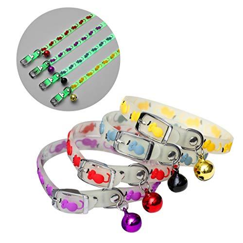 xllLU Collar luminoso para mascotas con campanas que brillan en la noche para perros y gatos