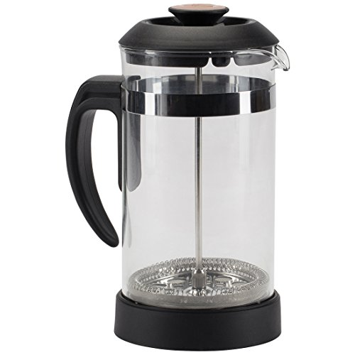 Trudeau Maison Cafetière, Press Pot Made of Borosilicate Glass with Stainless Steel Filter, 1.0 l, Black, 13.5 x 11.5 x 21 cm