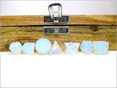 Jet International Energizado 7 Chakra Geometría de Opalita Conjunto de piedras con caja de sólidos platónicos Folleto de terapia de cristal curativo Imagen de paz positiva sagrada divina cargada es