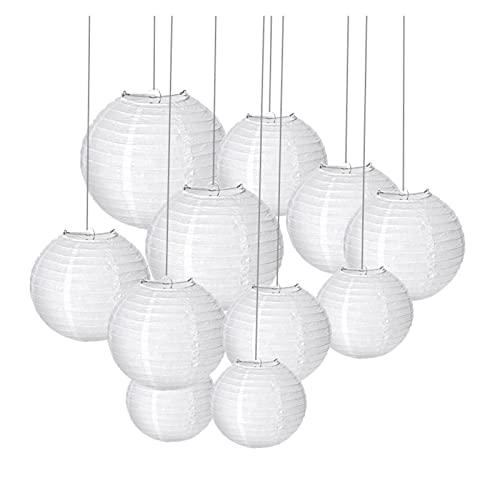 CAIFEIYU 30 unids/Set (4,6,8,10,12,14 '') Cálido Blanco Linterna de Boda Luces Lámparas de Bola de Papel Chino para la decoración del Favor del Partido (Color : White, Lantern Size : 6-14inch)