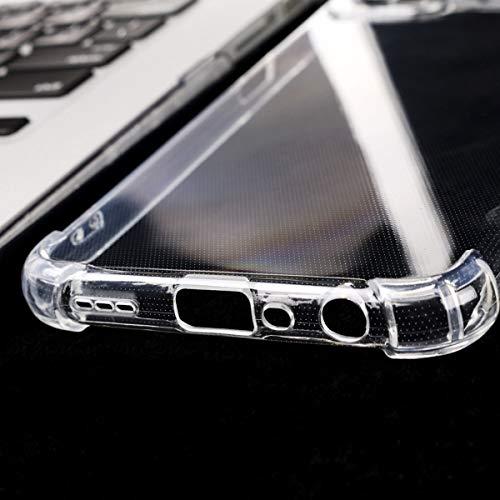 PZEMIN Case für Huawei P smart 2021 Hülle - [Airbag Mit Vier Ecken] Transparent Silikon Durchsichtige Schutzhülle TPU Schale Cover Bumper + 1x Gehärtetem Glas Film Displayschutz Schutzfolien