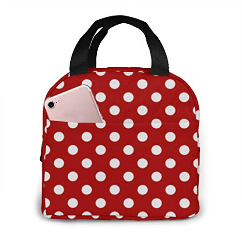 Portable Lunch Tote Bag Red White Polka Dot insulated Cooler Thermal Reusable Bag Lunch Box Handbag