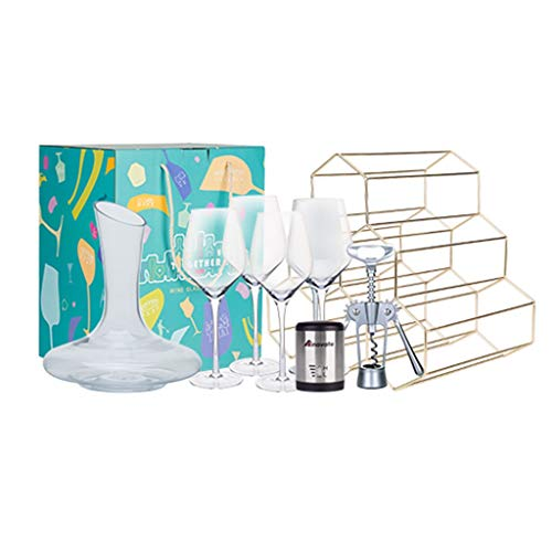 Set De Vino Familiar De 8 Piezas Set De Vino para 4 Personas Apto para Uso Doméstico; Embalaje De Caja De Regalo, Adecuado para Regalos. (Color : Clear, Size : Size Chart)